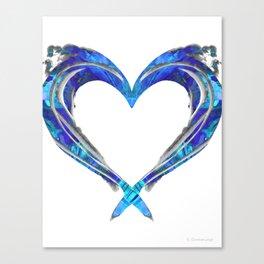 Romantic Abstract Heart Art - Big Blue Love - Sharon Cummings Canvas Print