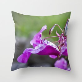 Indian Balsam Bokeh on the banks of the River Tay in Scotland Throw Pillow