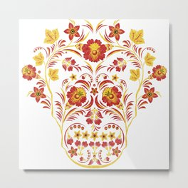 Skull Khokhloma Metal Print