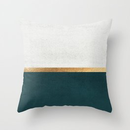 Deep Green, Gold and White Color Block Throw Pillow