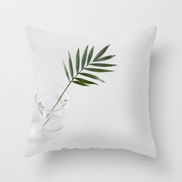 Minimalist Mid Century Modern Scandinavian Palm Leaf In Clear Glass Throw Pillow