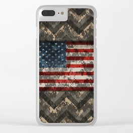 Digital Camo Patriotic Chevrons American Flag Clear iPhone Case
