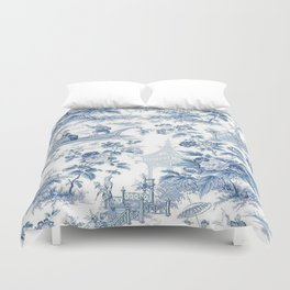 Powder Blue Chinoiserie Toile Duvet Cover