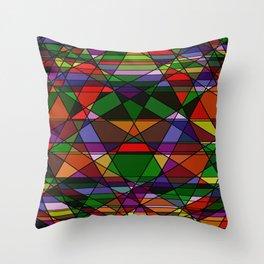 Stain Glass Mosaic Dark Throw Pillow