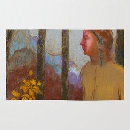 """Odilon Redon """"Évocation (Femme à la montagne)"""" Rug"""