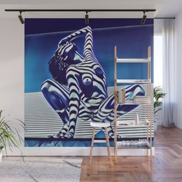 9124s-KMA Powerful Nude Woman Open and Free Striped in Blue Wall Mural