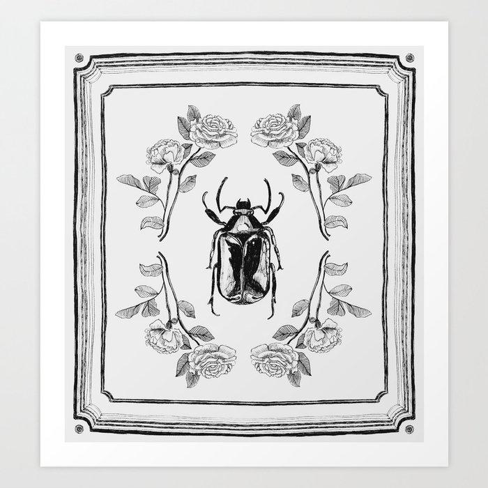 beetle botanical drawing art print by ashleytaylorprints society6