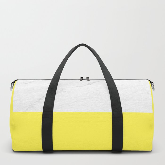 Marble and Yellow Duffle Bag