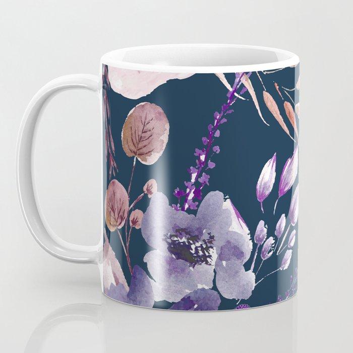 Watercolor Giant Flowers Blue Coffee Mug