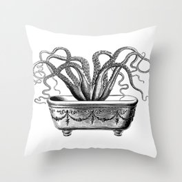 Tentacles in the Tub | Octopus | Black and White Throw Pillow