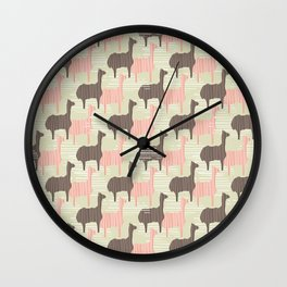Brown and Pink Kids Llama Silhouette Seamless Wall Clock