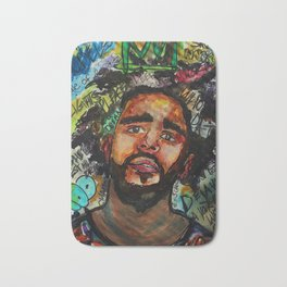 J cole,kod,album,music,rap,cole world,hiphop,rapper,masculine,cool,fan art,wall art,portrait,paint Bath Mat