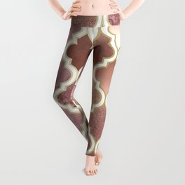 Rosegold Pink and Copper Moroccan Tile Pattern Leggings