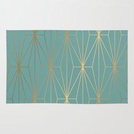 ELEGANT BLUE GOLD PATTERN Rug