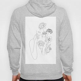 Minimal Line Art Woman with Flowers III Hoodie
