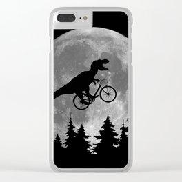 Biker t rex In Sky With Moon 80s Parody Clear iPhone Case