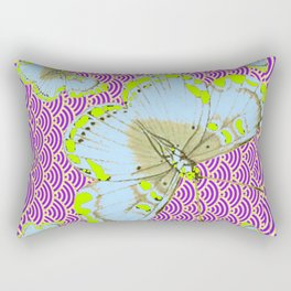 CHARTREUSE-WHITE EXOTIC BUTTERFLY Rectangular Pillow