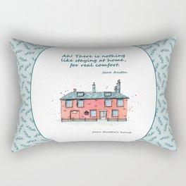 Jane Austen house and quote Rectangular Pillow