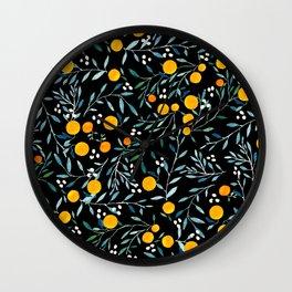 Oranges Black Wall Clock