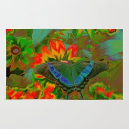 Extreme Emerald Swallowtail Butterfly Rug