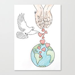 Peace, love & kindness Canvas Print