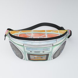 Boombox - Watercolor - Rainbow Background vintage boombox - Stereo - 1980s Fanny Pack