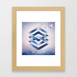 Indigo Hexagon :: Floating Geometry Framed Art Print