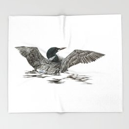 Morning Stretch - Common Loon Throw Blanket
