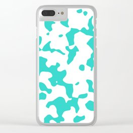 Large Spots - White and Turquoise Clear iPhone Case