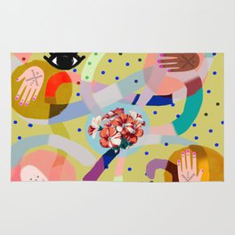 abstract evil eye , female hands, dots, love, flowers Rug