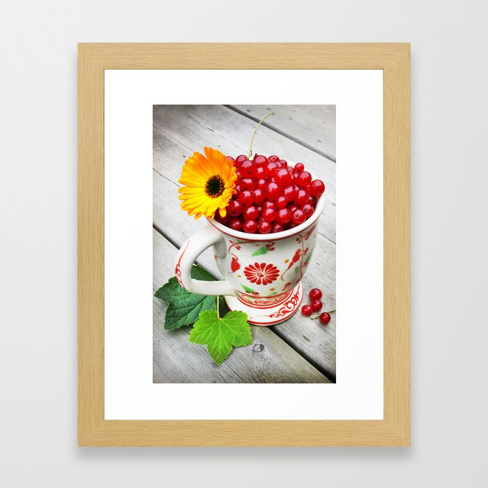 A cup of red currents II Framed Art Print