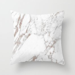 Rose gold shimmer vein marble Throw Pillow