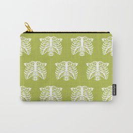 Human Rib Cage Pattern Chartreuse Green Carry-All Pouch