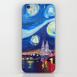 Starry Night in Cologne - Van Gogh Inspirations on River Rhine and Cathedral iPhone Skin