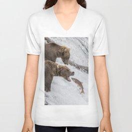The Catch - Brown Bear vs. Salmon Unisex V-Neck