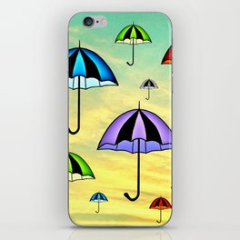 Colorful umbrellas flying in the sky iPhone Skin
