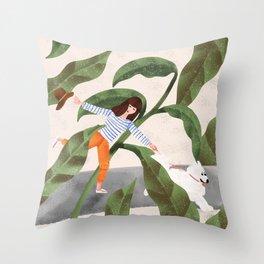 Going On A Walk Throw Pillow