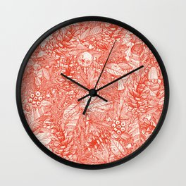 forest floor fire orange ivory Wall Clock