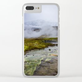 Colorful Mineral Deposits at a Geyser at Strokker Geysir Field in the Golden Circle of Iceland Clear iPhone Case