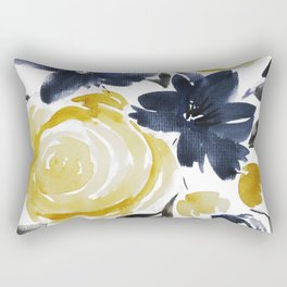 Navy and Yellow Loose Watercolor Floral Bouquet Rectangular Pillow