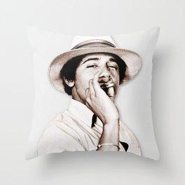 Barack Obama Smoking weed Throw Pillow