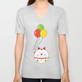 Fat Cat with Balloons Unisex V-Neck