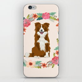 border collie brown floral wreath dog gifts pet portraits iPhone Skin