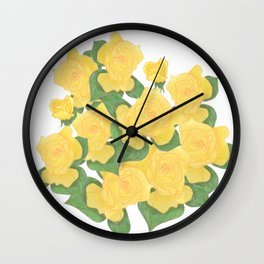 Yellow Rose Bouquet Digital Drawing Wall Clock