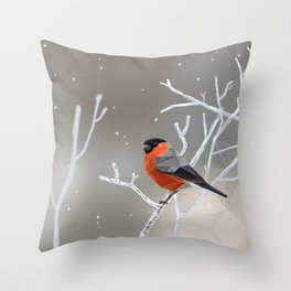 Safe transitions! // (polygonal bull-finch) Throw Pillow