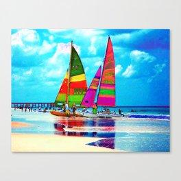 Neon Sailboats -Daytona Beach Canvas Print