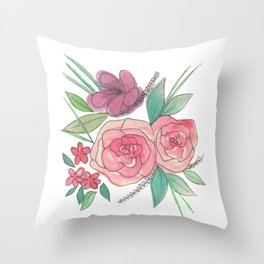 Glossy Flowers Throw Pillow