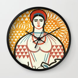 cccp sssr rusian art lady on the market with fruit basket Wall Clock
