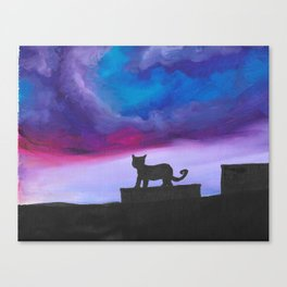 Black Cat and Bright Night Sky Canvas Print