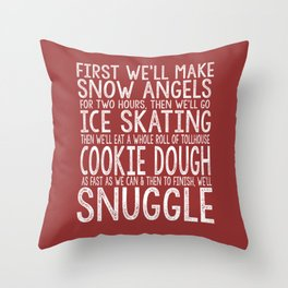 ELF CHRISTMAS MOVIE To-Do List Snow Angels Skating Cookie Dough Snuggle Buddy The Elf Will Ferrell Throw Pillow
